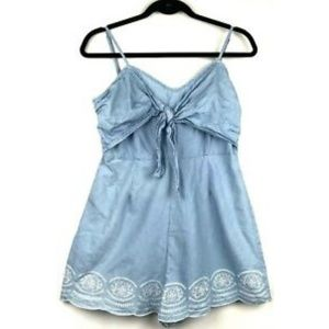 Flying Tomato Chambray Embroidered Romper